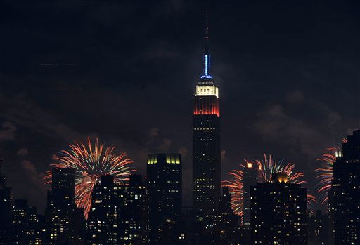 "<div class=""meta image-caption""><div class=""origin-logo origin-image ""><span></span></div><span class=""caption-text"">The Empire State Building, illuminated with red, white and blue lights is seen from across the East River in the Queens borough of New York, backlit by fireworks exploding over the Hudson River during the Macy's Fourth of July fireworks show on Monday, July 4, 2011 in New York. (AP Photo/Kathy Kmonicek) (AP Photo/ Kathy Kmonicek)</span></div>"