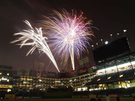 Fireworks illuminate the sky for the Fourth of July celebration following the baseball game between the Baltimore Orioles and the Texas Rangers, Monday, July 4, 2011, in Arlington, Texas. The Rangers won 13-4. &#40;AP Photo&#47;Jim Cowsert&#41; <span class=meta>(AP Photo&#47; Jim Cowsert)</span>