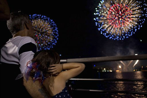 Spectators watch the fireworks display over the Hudson River, Monday, July 4, 2011, in New York. A portion Manhattan&#39;s west side is closed to vehicular traffic, allowing pedestrians to camp out and wait for the 40,000 shells launched after dusk from a barge on the river. &#40;AP Photo&#47;John Minchillo&#41; <span class=meta>(AP Photo&#47; John Minchillo)</span>