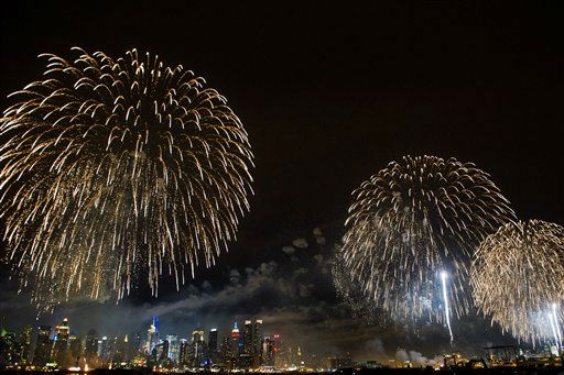 Fireworks explode over the Manhattan skyline during the 35th Annual Macy&#39;s Fourth of July fireworks display, Monday, July 4, 2011 as seen from Weehawken, NJ <span class=meta>(AP Photo&#47;Charles Sykes)</span>