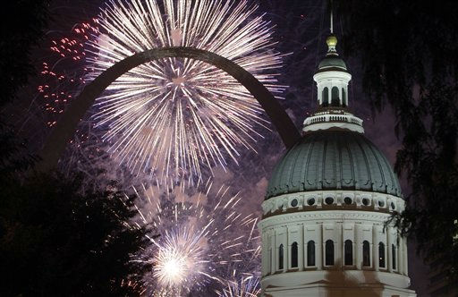 "<div class=""meta ""><span class=""caption-text "">Fireworks light up the night sky behind the Gateway Arch and the Old Courthouse Monday, July 4, 2011, in St. Louis. (AP Photo/Jeff Roberson) (AP Photo/ Jeff Roberson)</span></div>"