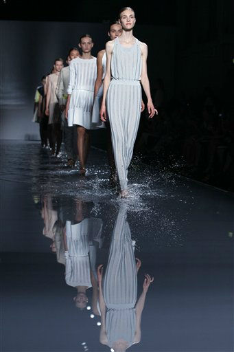 Models wear creations by Lebanese designer Rabih Kayrouz for his Fall-Winter 2011-2012 Haute Couture fashion collection presented in Paris, Tuesday, July 5, 2011. &#40;AP Photo&#47;Francois Mori&#41; <span class=meta>(AP Photo&#47; Francois Mori)</span>