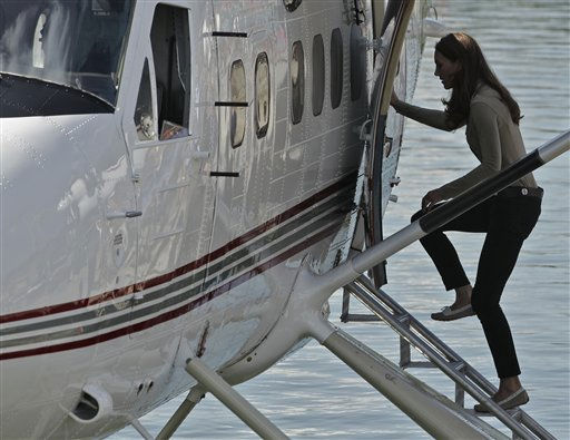 Kate, the Duchess of Cambridge, boards a float plane for a lodge in Yellowknife, Canada as the Royal couple continues their Royal Tour of Canada Tuesday, July 5, 2011. &#40;AP Photo&#47;Charlie Riedel&#41; <span class=meta>(AP Photo&#47; Charlie Riedel)</span>
