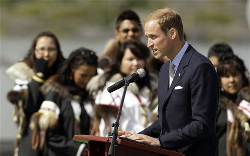 Prince William, the Duke of Cambridge, makes a speech during a welcome ceremony in Yellowknife, Canada as the Royal couple continue their Royal Tour of Canada Tuesday, July 5, 2011. &#40;AP Photo&#47;Charlie Riedel&#41; <span class=meta>(AP Photo&#47; Charlie Riedel)</span>