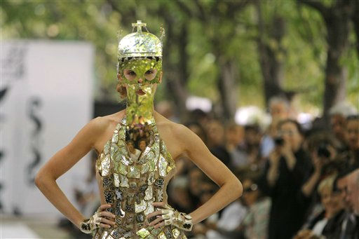 A model wears a creation for the On Aura Tout Vu Fall-Winter 2011-2012 Haute Couture fashion collection presented in Paris, Wednesday, July 6, 2011. &#40;AP Photo&#47;Jacques Brinon&#41; <span class=meta>(AP Photo&#47; Jacques Brinon)</span>