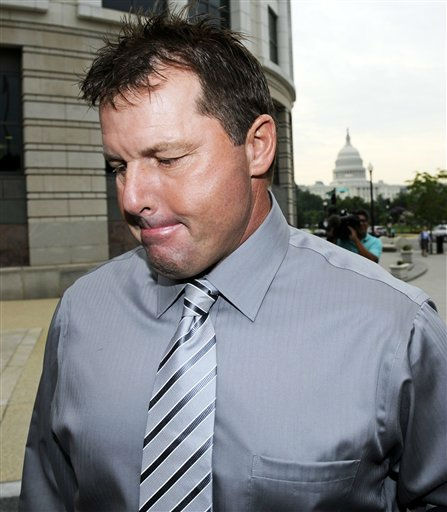 With the Capitol in the background, former Major League Baseball pitcher Roger Clemens arrives at federal court in Washington, Wednesday, July 6, 2011, for his trial on charges of lying to Congress in 2008 when he denied ever using performance-enhancing drugs during his 23-year career.  &#40;AP Photo&#47;Cliff Owen&#41; <span class=meta>(AP Photo&#47; Cliff Owen)</span>