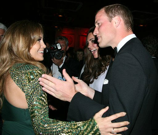 Actress Jennifer Lopez, left, speaks with Prince William and Kate, the Duke and Duchess of Cambridge at the inaugural &#34;BAFTA Brits to Watch&#34; event at the Belasco Theatre in Los Angeles, on Saturday, July 9, 2011. &#40;AP Photo&#47;Matt Baron, pool&#41; <span class=meta>(AP Photo&#47; Matt Baron&#47;BEImages)</span>