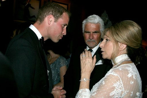Prince William, left, speaks with James Brolin and Barbra Streisand at the inaugural &#34;BAFTA Brits to Watch&#34; event at the Belasco Theatre in Los Angeles, on Saturday, July 9, 2011. &#40;AP Photo&#47;Matt Baron, pool&#41; <span class=meta>(AP Photo&#47; Matt Baron)</span>