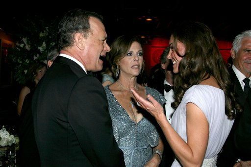 "<div class=""meta image-caption""><div class=""origin-logo origin-image ""><span></span></div><span class=""caption-text"">Kate, the Duchess of Cambridge, right, speaks with Tom Hanks, left, and his wife Rita Wilson at the inaugural ""BAFTA Brits to Watch"" event at the Belasco Theatre in Los Angeles, on Saturday, July 9, 2011. (AP Photo/Matt Baron, pool) (AP Photo/ Matt Baron)</span></div>"