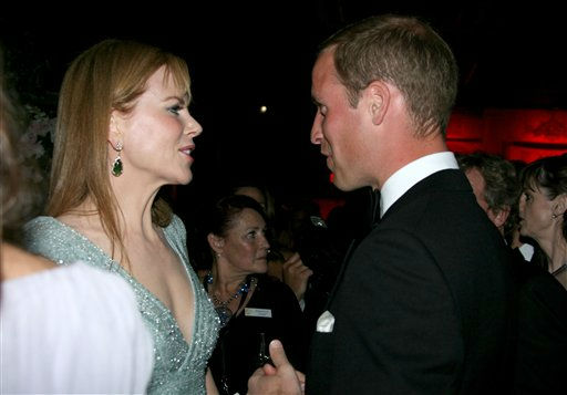 Prince William, right, speaks with actress Nicole Kidman at the inaugural &#34;BAFTA Brits to Watch&#34; event at the Belasco Theatre in Los Angeles, on Saturday, July 9, 2011.    <span class=meta>(&#40;AP Photo&#47;Matt Baron, pool&#41;)</span>
