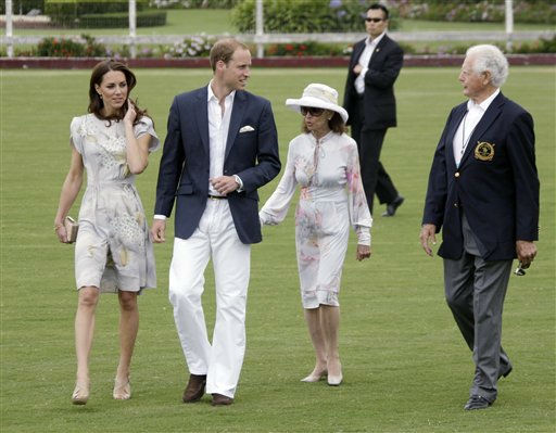 Prince William and Kate, the Duke and Duchess of Cambridge, left, arrive with former Ambassador to Jamaica, Glen Holden, right, and Gloria Holden at a charity polo match at the Santa Barbara Polo &amp; Racquet Club in Carpinteria, Calif., Saturday, July 9, 2011.  The event is held in support of The American Friends of The Foundation of Prince William and Prince Harry.  &#40;AP Photo&#47;Reed Saxon&#41; <span class=meta>(AP Photo&#47; Reed Saxon)</span>