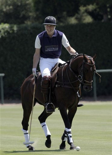 Prince William, Duke of Cambridge warms up prior to the charity polo match at The Santa Barbara Polo &amp; Racquet club on Saturday, July 9, 2011 in Carpinteria Calif.  The event is held in support of The American Friends of The Foundation of Prince William and Prince Harry. &#40;AP Photo&#47;Reed Saxon&#41; <span class=meta>(AP Photo&#47; Reed Saxon)</span>