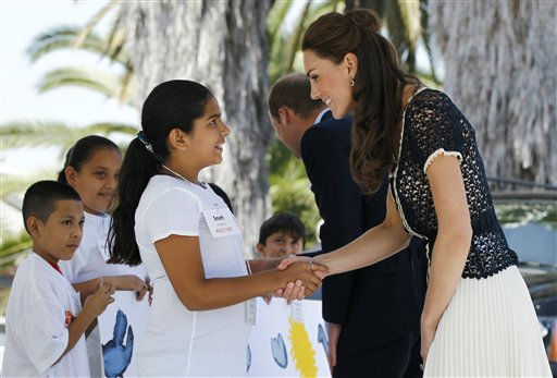 Prince William and Kate, the Duke and Duchess of Cambridge, greet students as they arrive at Inner-City Arts during their royal tour of California in Los Angeles, Sunday, July 10, 2011. &#40;AP Photo&#47;Matt Sayles&#41; <span class=meta>(AP Photo&#47; Matt Sayles)</span>