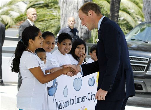 "<div class=""meta ""><span class=""caption-text "">Prince William, the Duke of Cambridge, greets students as he arrives at Inner-City Arts during the royal tour of California in Los Angeles, Sunday, July 10, 2011. (AP Photo/Matt Sayles) (AP Photo/ Matt Sayles)</span></div>"