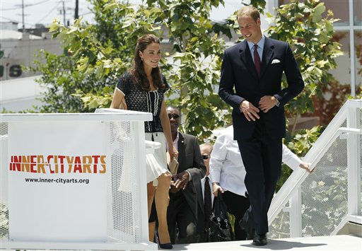 "<div class=""meta image-caption""><div class=""origin-logo origin-image ""><span></span></div><span class=""caption-text"">Prince William and his wife, Kate, the Duke and Duchess of Cambridge, leave an inner-city school in Los Angeles's notorious Skid Row area during the royal tour of California, Sunday, July 10, 2011. The royal couple were welcomed to the Inner City Arts academy by six elementary-aged children holding a welcome banner while a crowd of about 150 people looked on, some waving British and American flags. (AP Photo/Matt Sayles) (AP Photo/ Matt Sayles)</span></div>"