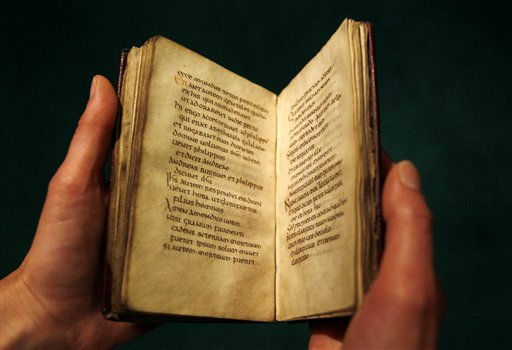 The St. Cuthbert Gospel, the earliest intact European book, created in the 7th century, is displayed at the British Library in London, Thursday, July 14, 2011. The British Library launched a campaign on Thursday to try to raise the final 2.75 million pounds &#40;4.43 US Dollars&#41; to buy the book. &#40;AP Photo&#47;Kirsty Wigglesworth&#41; <span class=meta>(AP Photo&#47; Kirsty Wigglesworth)</span>