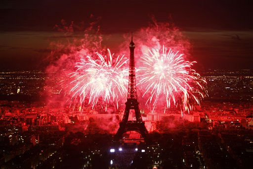 Fireworks illuminate the Eiffel Tower in Paris during Bastille Day celebrations late Thursday, July 14, 2011. &#40;AP Photo&#47;Thibault Camus&#41; <span class=meta>(AP Photo&#47; Thibault Camus)</span>