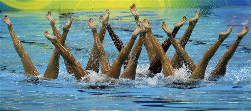 The Colombian compete in the synchronised swimming Teams Free Routine Preliminary, at the FINA 2011 Swimming World Championships in Shanghai, China, Wednesday, July 20, 2011. &#40;AP Photo&#47;Mark Baker&#41; <span class=meta>(AP Photo&#47; Mark Baker)</span>