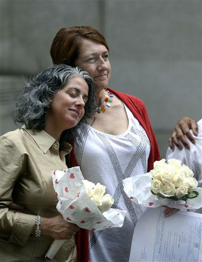 Carol Anastasio, left, and Miriam Brown, both of New York, react after getting married at the Manhattan City Clerk&#39;s office, Sunday, July 24, 2011 in New York. &#40;AP Photo&#47;Jason DeCrow&#41; <span class=meta>(AP Photo&#47; Jason DeCrow)</span>