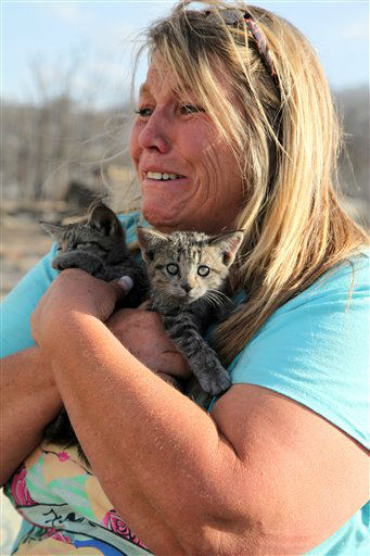 Tammy Lance, of Payson, Utah, breaks down crying Monday, June 25, 2012, after finding kittens alive under a burned-out truck in the Oaker Hills neighborhood in Sanpete County. The area was devastated by a wildfire that started Saturday.Lance and her husband returned to find their home destroyed, but helped save a neighbor&#39;s by putting out hot spots.On their second trip back, they found the litter of kittens. &#40;AP Photo&#47;Lynn DeBruin&#41; <span class=meta>(AP Photo&#47; Lynn DeBruin)</span>