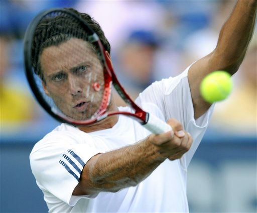 Artem Sitak, of New Zealand, returns the ball to Donald Young during a match at the Legg Mason Tennis Classic Monday, Aug. 1, 2011, in Washington. &#40;AP Photo&#47;Nick Wass&#41; <span class=meta>(AP Photo&#47; Nick Wass)</span>