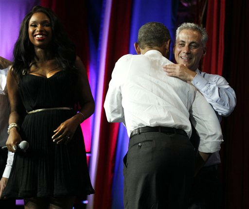 President Barack Obama is greeted by Jennifer Hudson, left, and Chicago Mayor Rahm Emanuel before speaking at the Aragon Ballroom, Wednesday, Aug. 3, 2011, in Chicago, at a fundraiser on the eve of his 50th birthday. &#40;AP Photo&#47;Carolyn Kaster&#41; <span class=meta>(AP Photo&#47; Carolyn Kaster)</span>