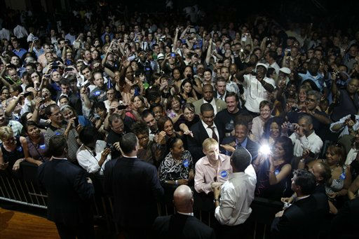 "<div class=""meta ""><span class=""caption-text "">President Barack Obama shakes hands after speaking at the Aragon Ballroom, Wednesday, Aug. 3, 2011, in Chicago, at a fundraiser on the eve of his 50th birthday. (AP Photo/Carolyn Kaster) (AP Photo/ Carolyn Kaster)</span></div>"