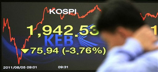 A currency trader works in front of screens showing the Korea Composite Stock Price Index at the Korea Exchange Bank headquarters in Seoul, South Korea, Friday, Aug. 5, 2011.  Stocks tumbled around the world on worries that the U.S. economy is weakening and that Europe&#39;s debt problems are getting worse. &#40;AP Photo&#47;Ahn Young-joon&#41; <span class=meta>(AP Photo&#47; Ahn Young-joon)</span>