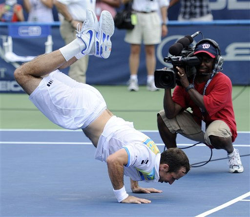 Radek Stepanek, of the Czech Republic, celebrates after he defeated Gael Monfils, of France, in the singles final match at the Legg Mason Tennis Classic, Sunday, Aug. 7, 2011, in Washington. Stepanek won 6-4, 6-4.&#40;AP Photo&#47;Nick Wass&#41; <span class=meta>(AP Photo&#47; Nick Wass)</span>