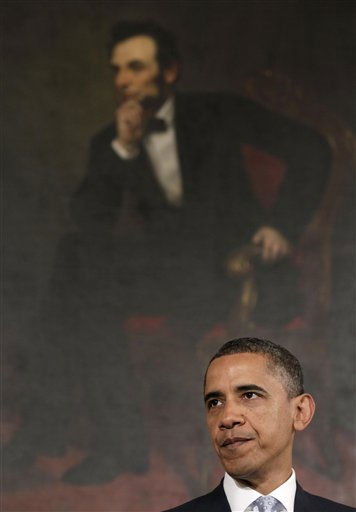 President Barack Obama pauses while speaking in the State Dining Room of the White House in Washington, Monday, Aug. 8, 2011.  &#40;AP Photo&#47;Carolyn Kaster&#41; <span class=meta>(AP Photo&#47; Carolyn Kaster)</span>