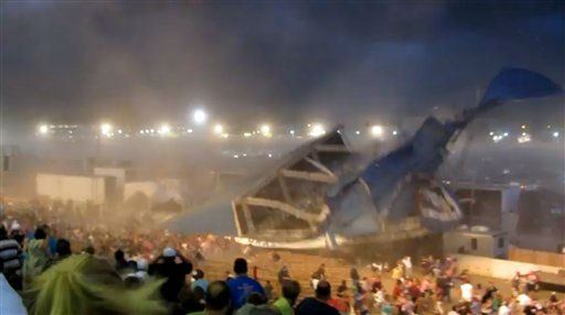 In this Saturday, Aug. 13, 2011 frame grab from video provided by Jessica Silas, a stage collapses at the Indiana State Fair, killing five and injuring dozens of fans waiting for the country band Sugarland to perform, in Indianapolis. &#40;AP Photo&#47;Jessica Silas&#41; <span class=meta>(AP Photo&#47; Jessica Silas)</span>
