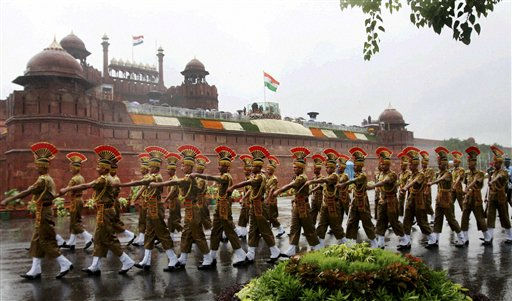 Indian police march in front of the historic Red Fort during Independence Day celebrations in New Delhi, India, Monday, Aug. 15, 2011. India marked 64 years of independence from British rule. &#40;AP Photo&#41; INDIA OUT <span class=meta>(AP Photo&#47; Anonymous)</span>
