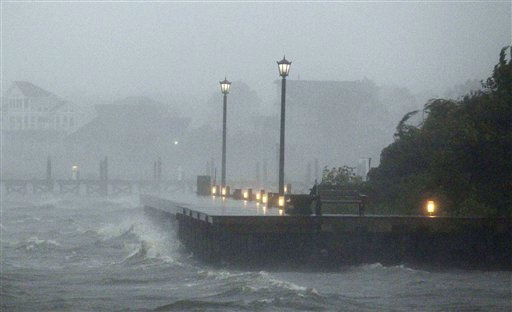 Wind and waves pound a dock as Hurricane Irene approaches Saturday, Aug. 26, 2011 in Monteo, N.C. . &#40;AP Photo&#47;John Bazemore&#41; <span class=meta>(AP Photo&#47; John Bazemore)</span>