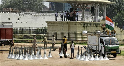"<div class=""meta ""><span class=""caption-text "">Laborers prepare the venue for a public protest due to headed by anti-corruption activist Anna Hazare at a fairground in  New Delhi, India, Thursday, Aug. 18, 2011.  Hazare struck a deal with police early Thursday to hold a 15-day public hunger strike against graft, ending a bizarre standoff at a New Delhi prison in which the activist turned his brief detention into a sit-in protest. (AP Photo/Manish Swarup) (AP Photo/ Manish Swarup)</span></div>"