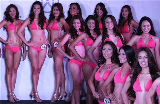 Candidates for the Miss World Philippines beauty pageant pose as they are presented to the media Thursday Aug.18, 2011 in Manila, Philippines. Twenty-five hopefuls are vying for the title for a chance to represent the country in the Miss World beauty pageant in November of this year. &#40;AP Photo&#47;Bullit Marquez&#41; <span class=meta>(AP Photo&#47; BULLIT MARQUEZ)</span>