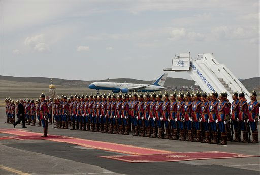 Mongolia&#39;s honor of guards line up as Air Force Two carrying U.S. Vice President Joe Biden landed at the Chinggis Khaan International Airport in Ulan Bator, Mongolia, Monday, Aug. 22, 2011. &#40;AP Photo&#47;Andy Wong&#41; <span class=meta>(AP Photo&#47; Andy Wong)</span>