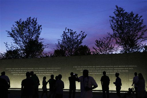 Quotes by Martin Luther King, Jr., are inscribed in the wall at the Martin Luther King, Jr. Memorial as it is seen at dusk ahead of its dedication this weekend in Washington, Monday, Aug. 22, 2011. &#40;AP Photo&#47;Charles Dharapak&#41; <span class=meta>(AP Photo&#47; Charles Dharapak)</span>