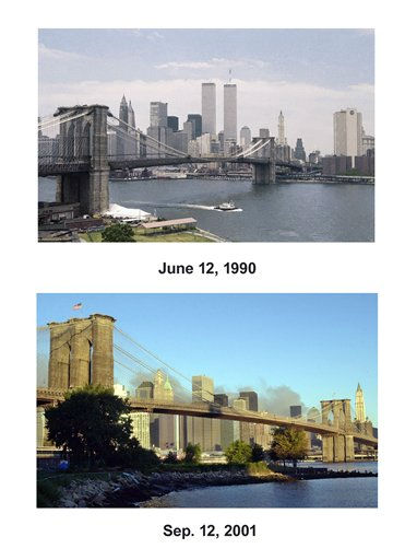"<div class=""meta ""><span class=""caption-text "">Shown in this combo image are two documentations of the before and after of the September 11, 2001,  terrorist attack in New York City. (Top) The Brooklyn Bridge is seen spanning over New York's East River, with the twin towers of the World Trade Center in the background, June 12, 1990. (Below) Smoke rises behind the Brooklyn Bridge over the East River frames the skyline of Manhattan, minus the World Trade towers, as seen from Brooklyn early Wednesday, Sept. 12, 2001, the day after hijacked airplanes crashed into both buildings causing their collapse on Tuesday. (AP Photo/Marty Lederhandler(Top), Kathy Willens(Bottom))  (Photo/Kathy Willens)</span></div>"