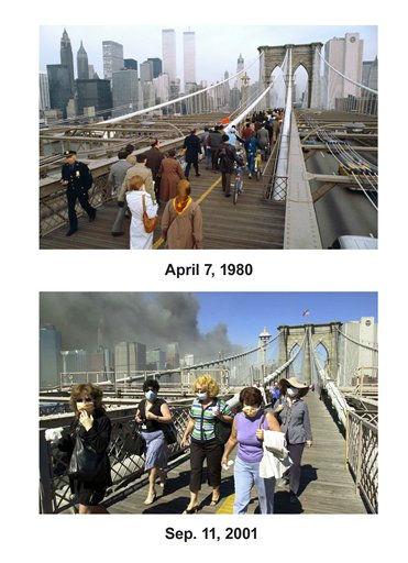 Shown in this combo image are two documentations of the before and after of the September 11, 2001,  terrorist attack in New York City. &#40;Top&#41; New Yorkers walk over the Brooklyn Bridge on their way to work, April 7, 1980, during the transit strike. &#40;Below&#41; People flee the scene of the attacks on the World Trade center on September 11, 2001. &#40;AP Photo&#47;Carlos Rene Perez &#40;Top&#41;, Mark Lennihan&#40;Bottom&#41;&#41; <span class=meta>(Photo&#47;Carlos Rene Perez)</span>