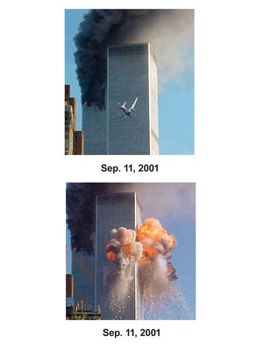 Shown in this combo image are two documentations of the before and after of the September 11, 2001, terrorist attack in New York City. &#40;Top&#41; A jet airliner is lined up on one of the World Trade Center towers in New York. &#40;Below&#41; A fireball explodes from one of the World Trade Center towers after a jet airliner crashed into the building Tuesday, Sept. 11, 2001, in New York. &#40;AP Photo&#47;Carmen Taylor&#41; <span class=meta>(Photo&#47;Carmen Taylor)</span>