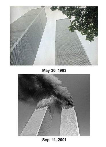 Shown in this combo image are two documentations of the before and after of the September 11, 2001, terrorist attack in New York City. &#40;Top&#41; Daniel Goodwin &#40;&#34;Spider Man&#34;&#41; climbs the sheer face of the North Tower of the World Trade Center in Manhattan, New York City on May 30, 1983. &#40;Below&#41; Smoke pours out of the World Trade Center after an air plane struck the buildings on Tueday morning, Sept. 11, 2001. &#40;AP Photo&#47; Suzane Vlamis &#40;Top&#41;, Gulnara Samoilova&#40;Bottom&#41;&#41; <span class=meta>(Photo&#47;Gulnara Samoilova)</span>
