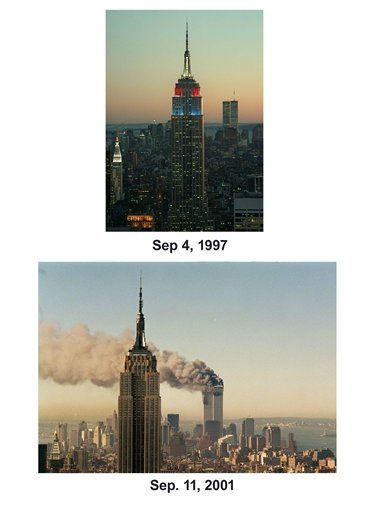 Shown in this combo image are two documentations of the before and after of the September 11, 2001, terrorist attack in New York City. &#40;Top&#41; New York&#39;s Empire State Building is illuminated at sunset in the colors of the British flag in honor of Princess Diana Thursday, Sept. 4, 1997.  &#40;Below&#41; In a horrific sequence of destruction, terrorists crashed two planes into the World Trade Center causing the twin 110-story towers to collapse on Sept. 11, 2001. &#40;AP Photo&#47; Michael Schmelling &#40;Top&#41;, Marty Lederhandler &#40;Bottom&#41;&#41; <span class=meta>(Photo&#47;Marty Lederhandler)</span>