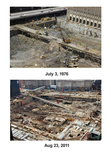 "<div class=""meta ""><span class=""caption-text "">Shown in this combo image are two documentations of the before and after of the September 11, 2001, terrorist attack in New York City. (Top) (Below) Cleanup and recovery efforts continue in this overall view at the site of the World Trade Center disaster, Friday, March 8, 2002, in New York.   (AP Photo/ Unknown (Top), Louis Lanzano (Bottom)) (Photo/Louis Lanzano)</span></div>"