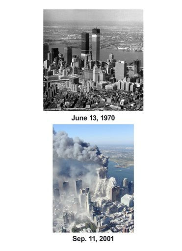 Shown in this combo image are two documentations of the before and after of the September 11, 2001, terrorist attack in New York City. &#40;Top&#41; This general view shows the World Trade Center twin towers as construction continues on the buildings at Church Street between Vesey and Liberty Streets in lower Manhattan, New York City, on Jun 13, 1970. &#40;Below&#41; This photo taken Sept. 11, 2001 by the New York City Police Department shows smoke and ash engulfing the area around the World Trade Center in New York. &#40;AP Photo&#47; Marty Lederhandler &#40;Top&#41;, Greg Semendinger&#40;Bottom&#41; <span class=meta>(Photo&#47;Greg Semendinger)</span>
