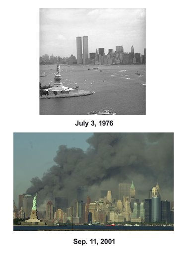 Shown in this combo image are two documentations of the before and after of the September 11, 2001, terrorist attack in New York City. &#40;Top&#41; The Statue of Liberty and the New York skyline frame warships and smaller craft for Operation Sail in this helicopter view on Saturday, July 3, 1976. &#40;Below&#41; Thick smoke billows into the sky from the area behind the Statue of Liberty, lower left, where the World Trade Center towers stood, on Tuesday, Sept. 11, 2001. The towers collapsed after terroists crashed two planes into them. &#40;AP Photo&#47; ETA &#40;Top&#41;, Daniel Hulshizer&#40;Bottom&#41;&#41;  <span class=meta>(Photo&#47;Daniel Hulshizer)</span>