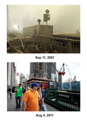 Shown in this combo image are two documentations of the September 11, 2001, terrorist attack in New York City and the current day location. &#40;Top&#41; A destroyed subway station near ground zero on the evening of Sept. 12, 2001 after the September 11 terrorist attacks on the World Trade Center in New York City.&#40;Below&#41; Pedestrians walk along Church St. in lower Manhattan, Aug. 4, 2011 in New York. Behind them is the tower known as Four World Trade Center. &#40;AP Photo&#47; Mark Lennihan&#41;  <span class=meta>(Photo&#47;Mark Lennihan)</span>