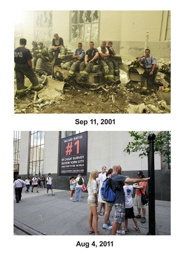 Shown in this combo image are two documentations of the September 11, 2001, terrorist attack in New York City and the current day location. &#40;Top&#41; Emergency workers at ground zero on Sept. 11, 2001 after the terrorist attacks on the World Trade Center in New York City.&#40;Below&#41; Pedestrians walk along Church St. past Century 21 clothing store in lower Manhattan, Aug. 4, 2011, in New York. &#40;AP Photos&#47;Mark Lennihan&#41;  <span class=meta>(Photo&#47;Mark Lennihan)</span>