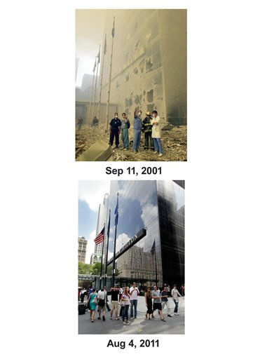 Shown in this combo image are two documentations of the September 11, 2001, terrorist attack in New York City and the current day location. &#40;Top&#41; Medical and emergency workers, who are standing in front of the Millenium Hilton, look towards where the World Trade Center towers used to be, after a terrorist attack on the twin towers of lower Manhattan Tuesday, Sept. 11, 2001. &#40;Below&#41; Pedestrians pass the Hilton Hotel on Church St. in lower Manhattan, Aug. 4, 2011, in New York. &#40;AP Photos&#47;Mark Lennihan&#41; <span class=meta>(Photo&#47;Mark Lennihan)</span>