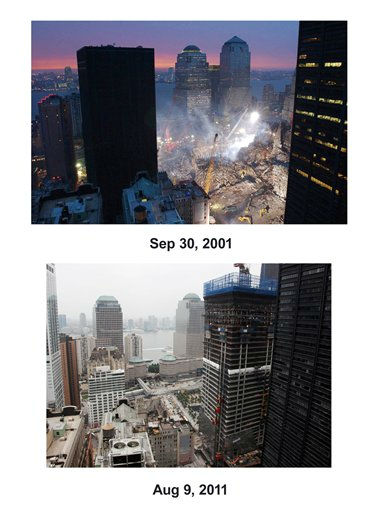 "<div class=""meta image-caption""><div class=""origin-logo origin-image ""><span></span></div><span class=""caption-text"">Shown in this combo image are two documentations of the September 11, 2001, terrorist attack in New York City and the current day location. (Top) The World Trade Center destruction is shown in the aftermath of the Sept. 11 attacks in New York on Sept. 30, 2001. (Below) The tower known as Four World Trade Center is under construction in lower Manhattan, Aug. 9, 2011 in New York. (AP Photos/Mark Lennihan) (Photo/Mark Lennihan)</span></div>"