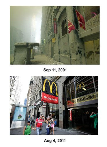 Shown in this combo image are two documentations of the September 11, 2001, terrorist attack in New York City and the current day location. &#40;Top&#41; A street near ground zero on the evening of September 11, 2001 after the September 11 terrorist attacks on the World Trade Center in New York City. &#40;Below&#41; Pedestrians pass a McDonald&#39;s restaurant on Broadway in lower Manhattan, Aug. 4, 2011, in New York. &#40;AP Photos&#47;Mark Lennihan&#41; <span class=meta>(Photo&#47;Mark Lennihan)</span>